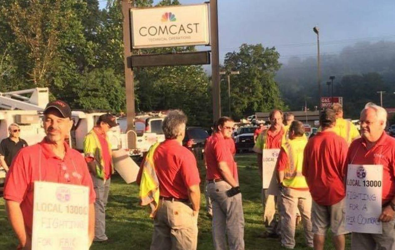 Comcast Alle-Kiske members picket outside of Comcast.