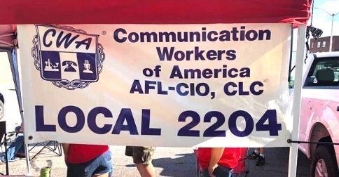 CWA Local 2204 banner outside.