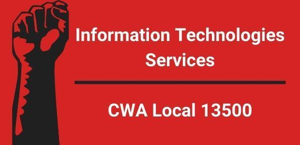 Red image with fist and text ITS CWA Local 13500
